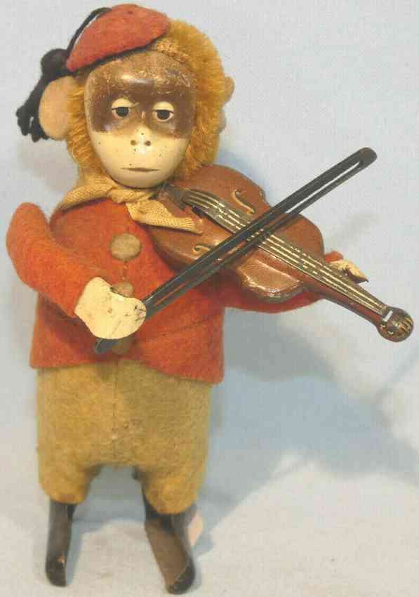 schuco 985/2 tin dance figure solisto monkey violin clockwork pompom