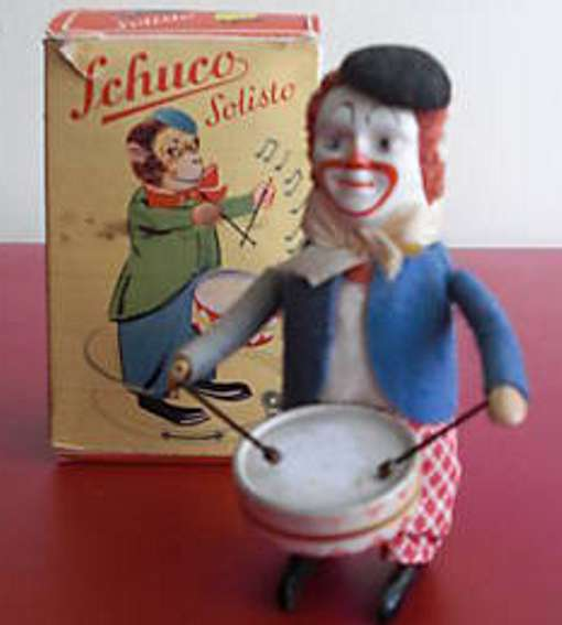 schuco 986/1 tin dance figure clown with drum solisto
