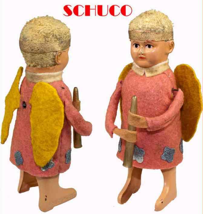 schuco 987/3 tin felt dance figure angel with pipe clockwork