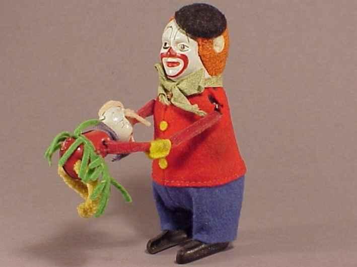 schuco 988 tin dance figure hopsa dancing clown with mouse