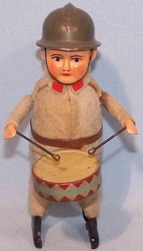 schuco 991/1 tin dance figure soldier with drum and clockwork