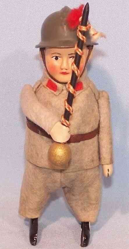 schuco 991/9 tin dance figure soldier drum-major clockwork gray