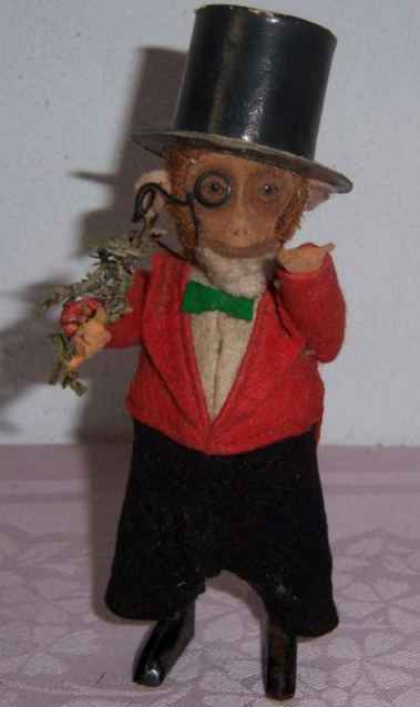 schuco tin dance figure dancing-monkey gentleman clockwork spectacle