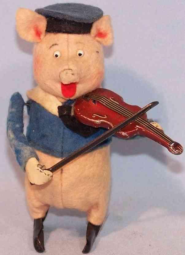 schuco blech tanzfigur schwein als matrose mit geige uhrwerk