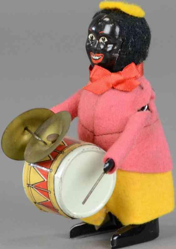 schuco blech filz tanzfigur afrikaner mit trommel und becken
