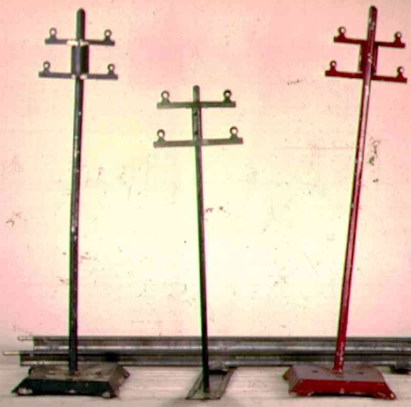 ives 86 (1929) railway toy telegraph telegraph poles in red