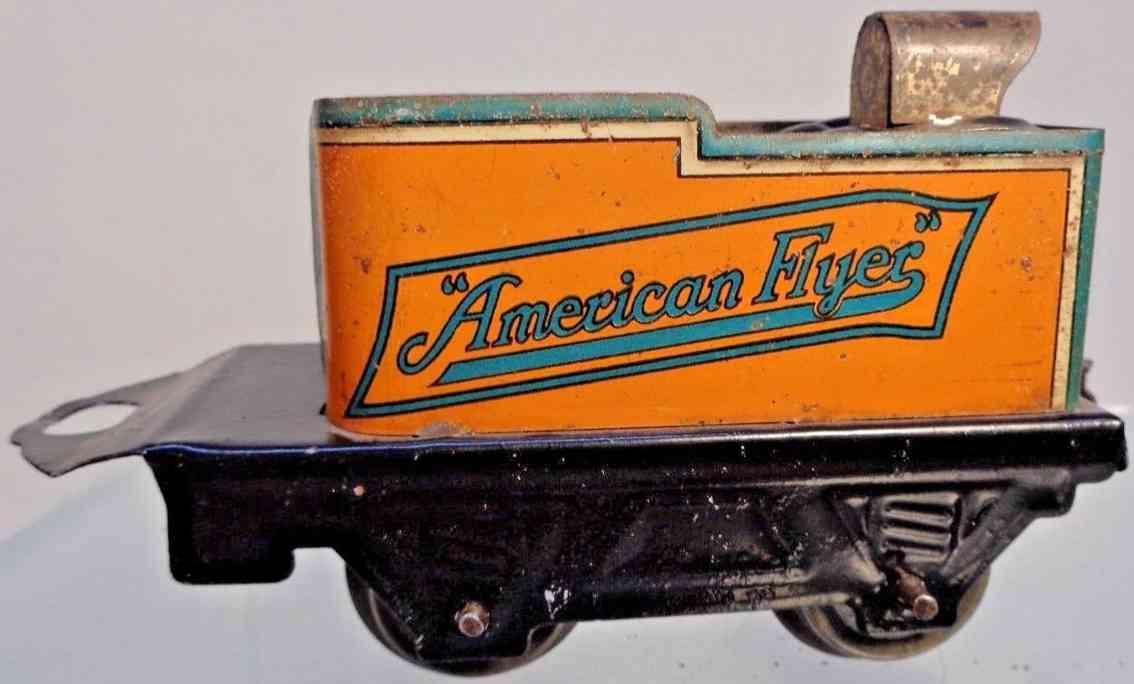 american flyer toy company 120 spielzeug eisenbahn tender orange schwarz gruen spur 0