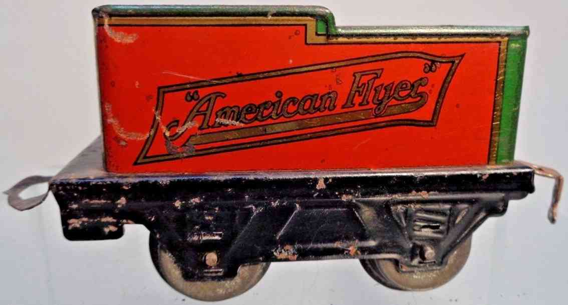 american flyer toy company 120 railway toy tender red black green gauge 0