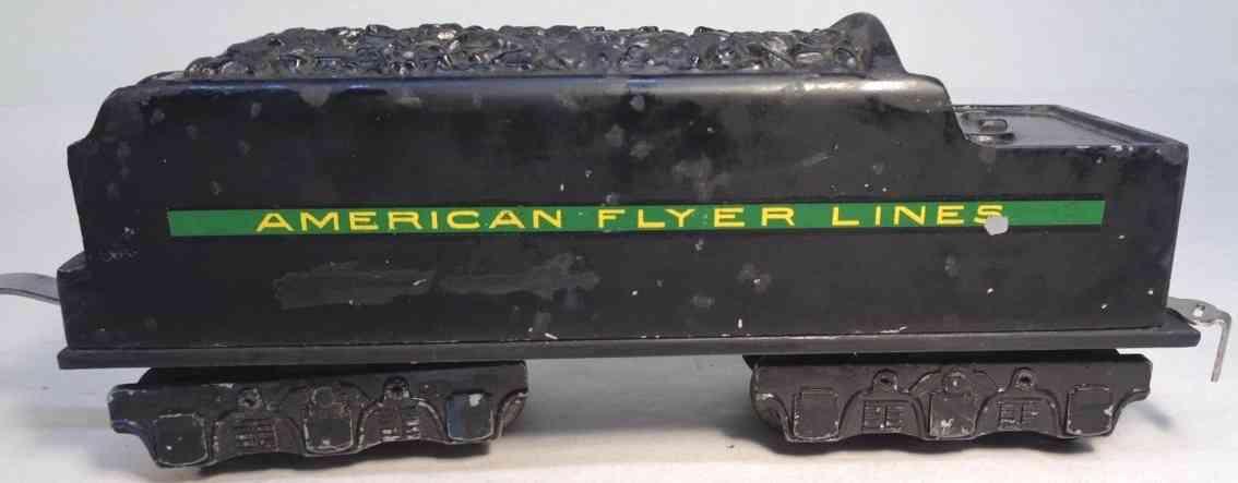 american flyer toy company 1623 railway toy tender  black green yellow gauge 0