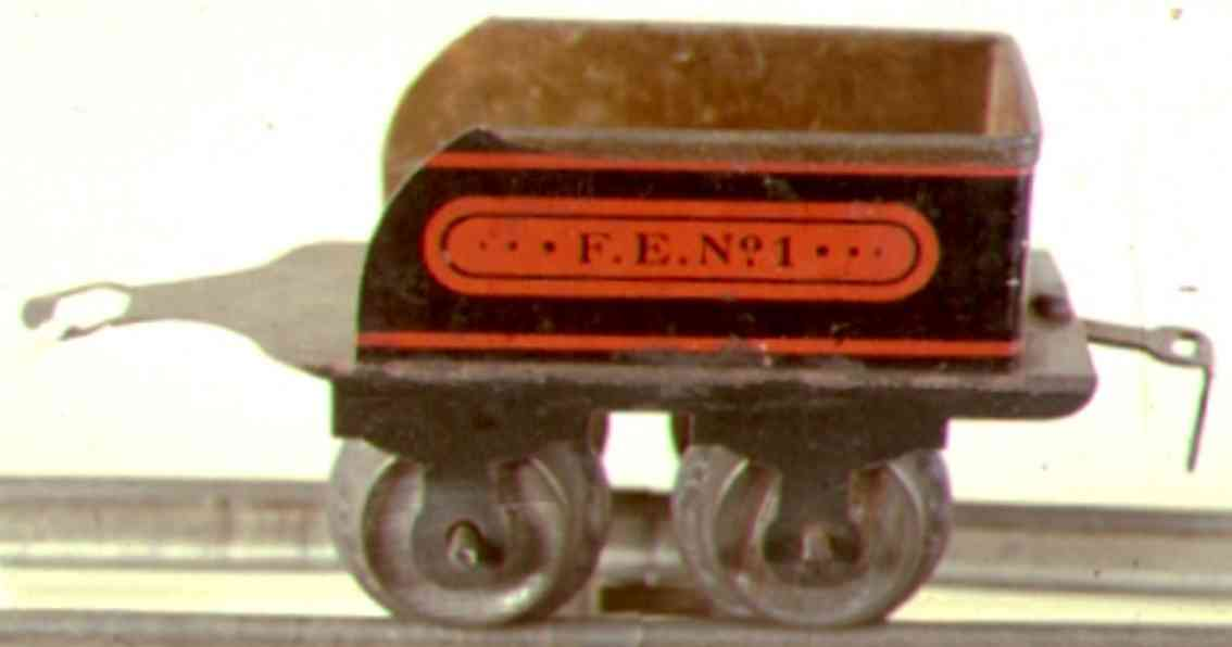 ives 1 (1908) railway toy tender tender plain frame with no lithography, and has a hook coupl