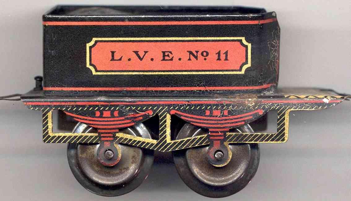 ives 11 (1903) spielzeug eisenbahn tender tender lithografiert in schwarz, rot und goldfarben, aufschr