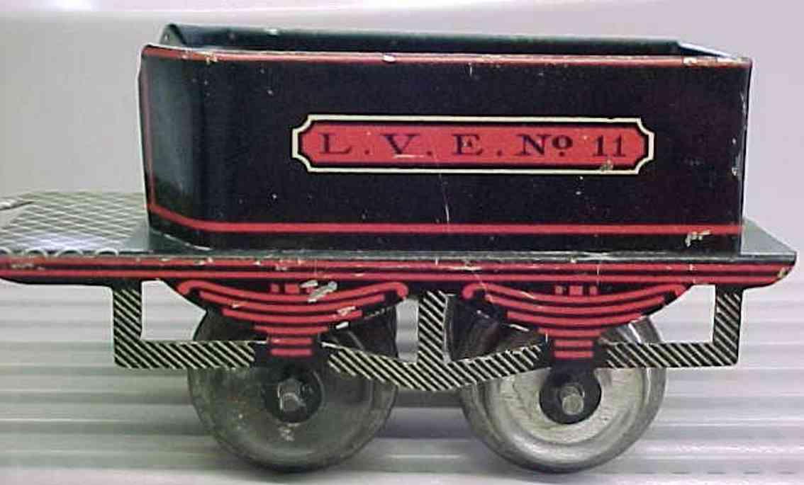 ives 11 (1904) spielzeug eisenbahn tender tender lithografiert in schwarz, rot und goldfarben, aufschr