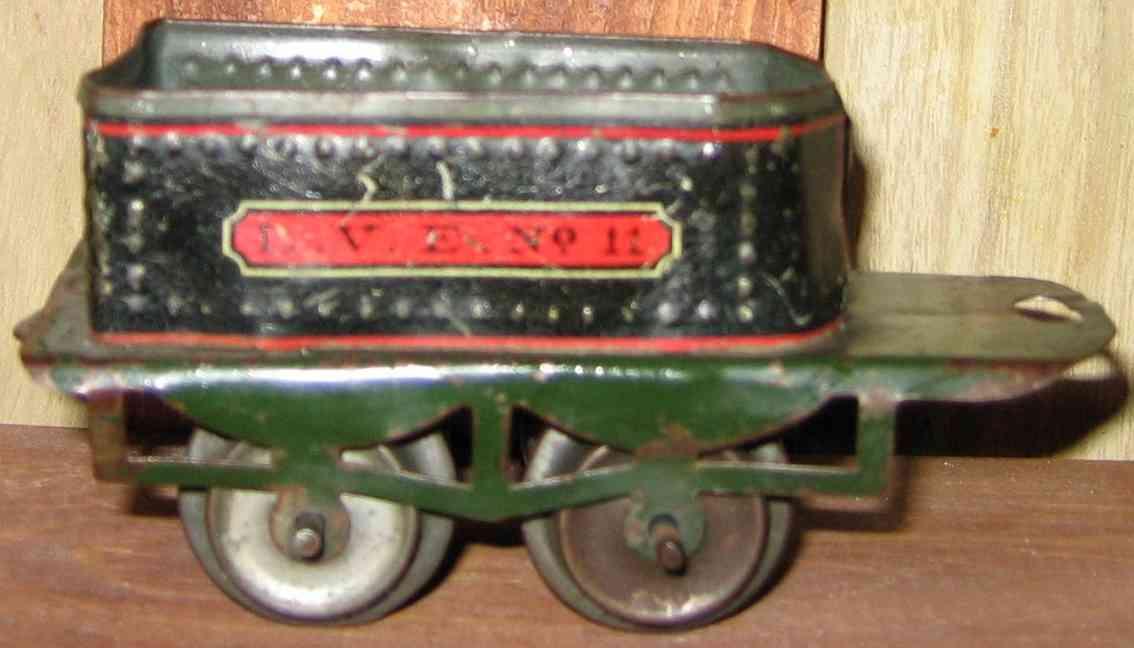 ives 11 (1910) spielzeug eisenbahn tender tender lithografiert in schwarz mit grünem untergestell, auf
