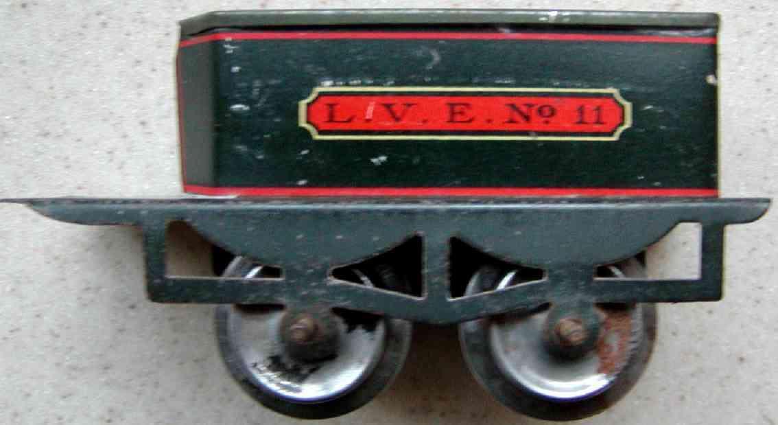 ives 11 (1910) spielzeug eisenbahn tender tender lithografiert in schwarz mit glattem untergestell, au