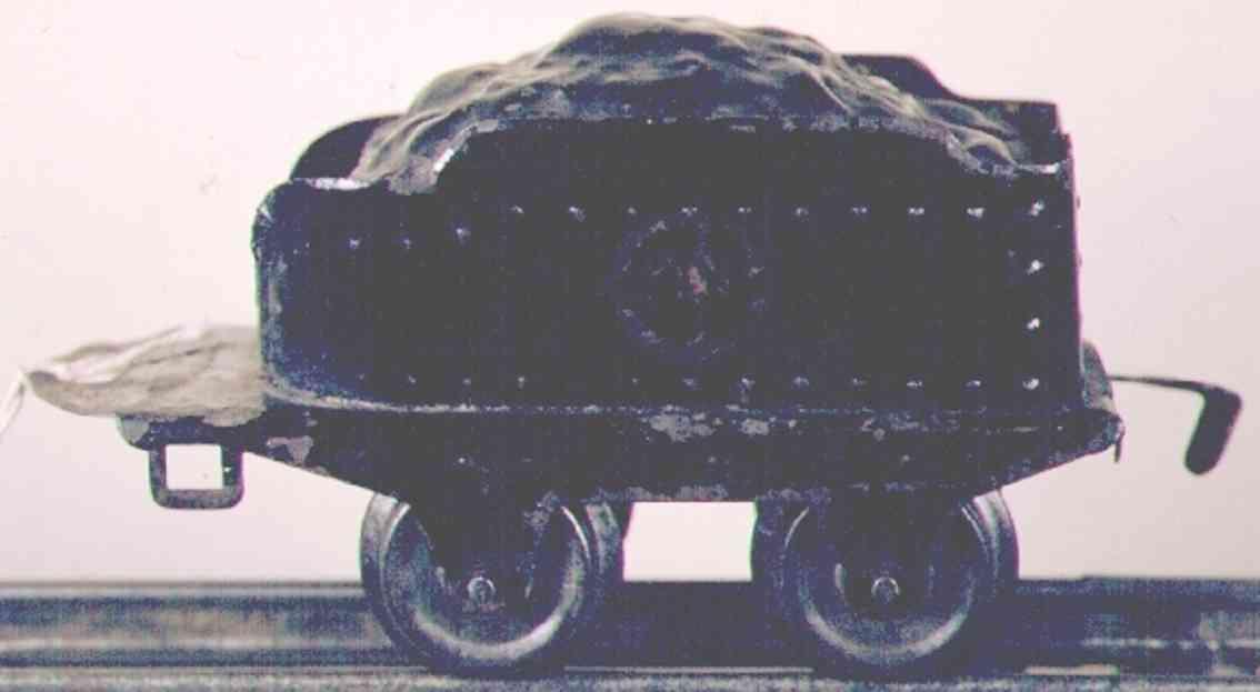 ives 12 (1929) spielzeug eisenbahn tender tender in schwarz mit kohleblech und amercian flyer räder