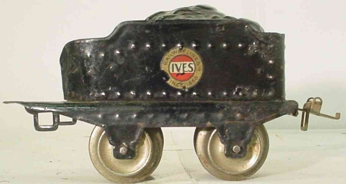 ives 12 (1930) spielzeug eisenbahn tender tender in schwarz mit kohleblech und ives etikett, nieten