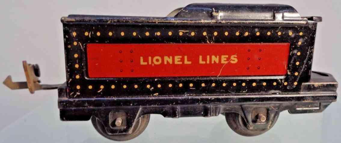 lionel 1661t spielzeug eisenbahn tender schwarz rot gelb spur 0