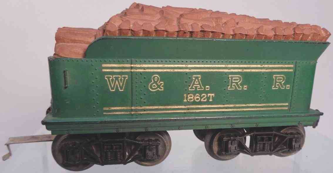 lionel 1862t railway toy tender green warr gauge 0