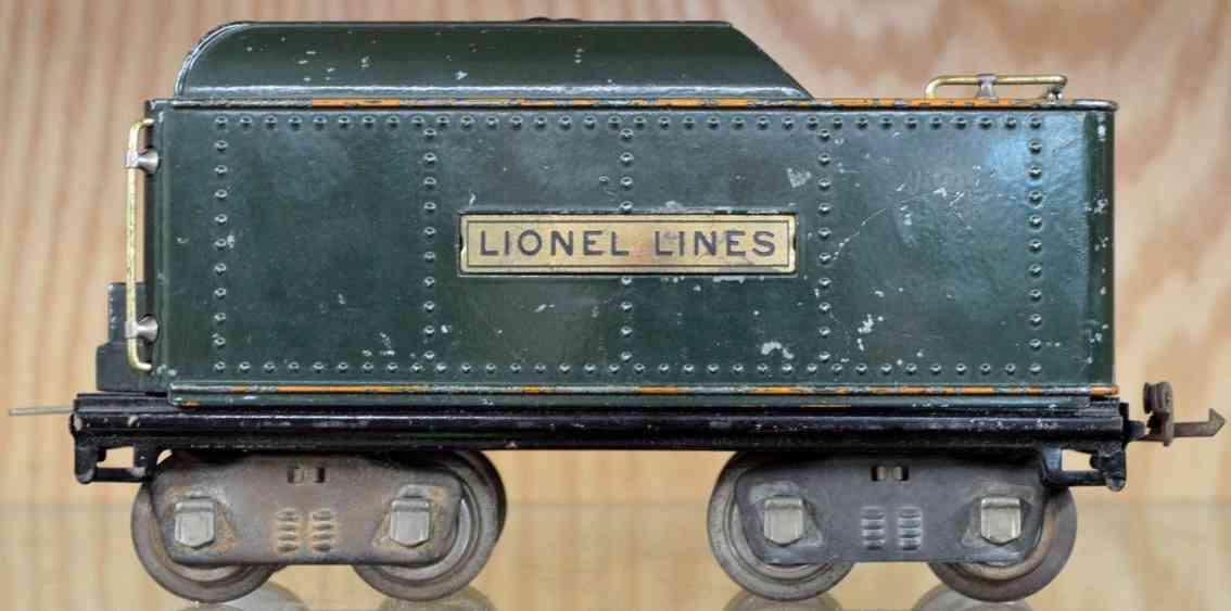 lionel spielzeug eisenbahn tender 384t gruen standard gauge