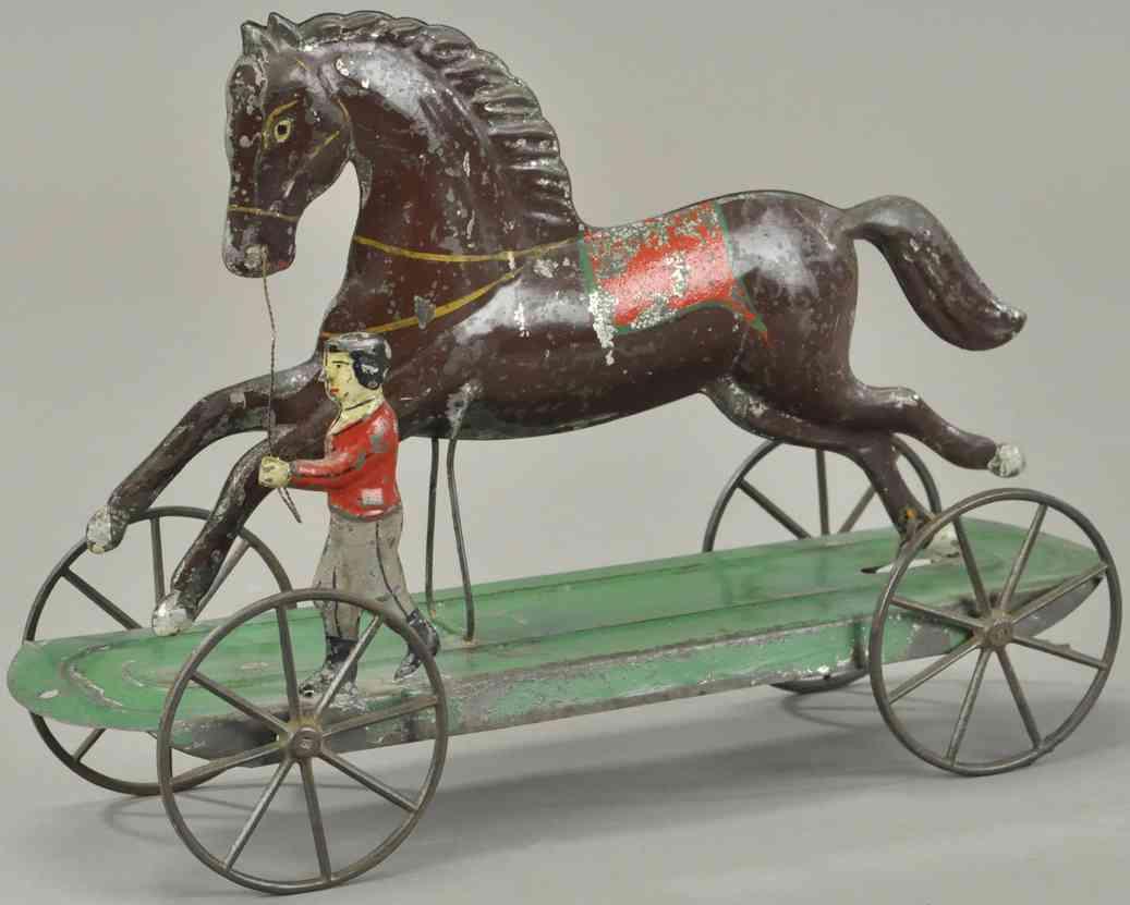 althof bergmann & co blech spielzeug pferd mit junge auf plattform