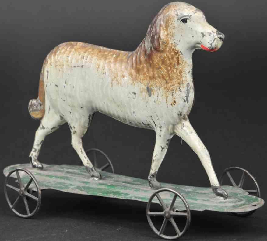 bergmann althof blech spielzeug hund auf plattform