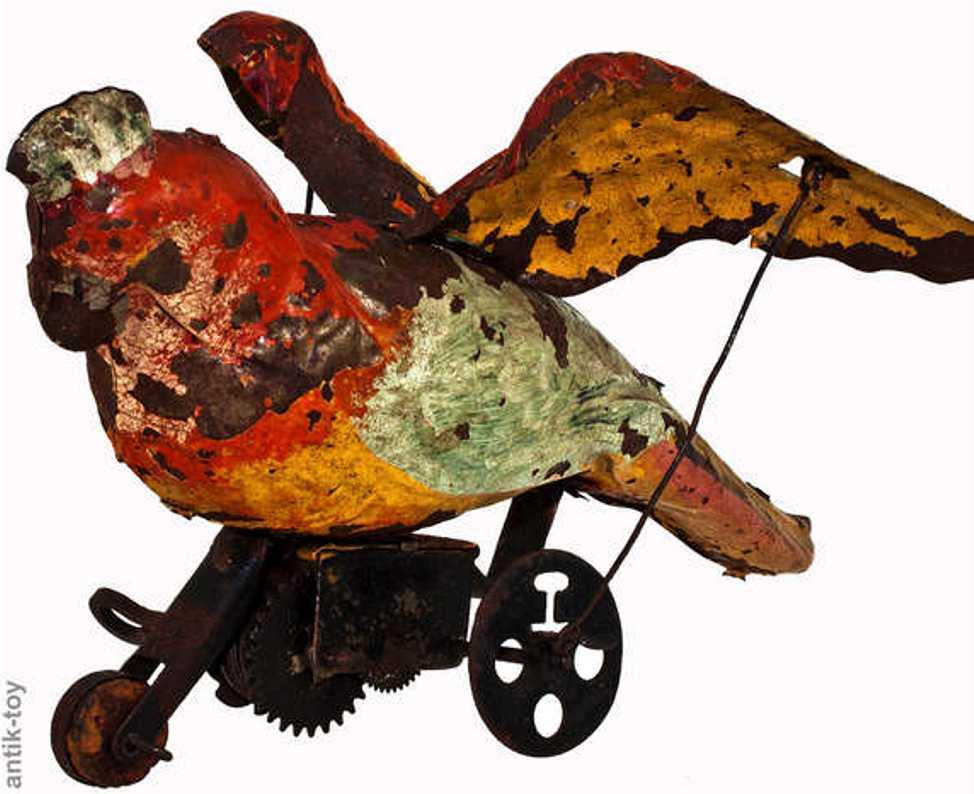 bing blech spielzeug papagei mit flügelschlag und uhrwerk, aufgezogen rollt der p
