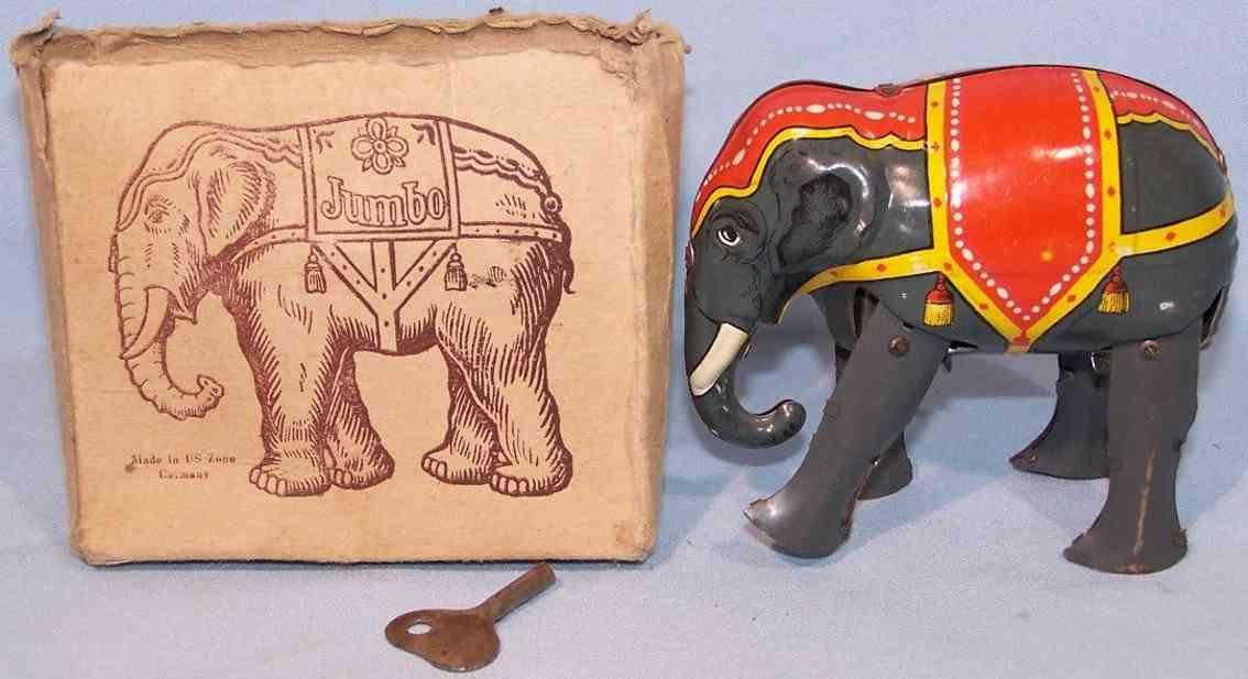 blomer & schueler blech spielzeug elefant jumbo grau rot gelb