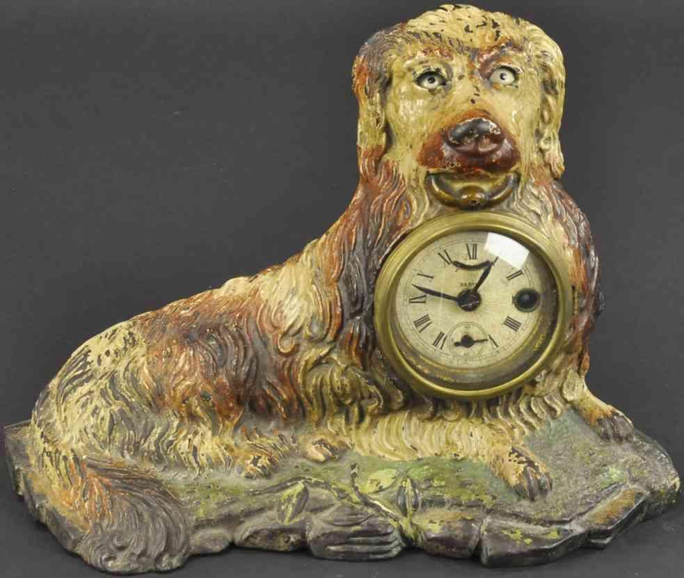 bradley & hubbard spielzeug gusseisen sitzender hund uhr blinkende augen
