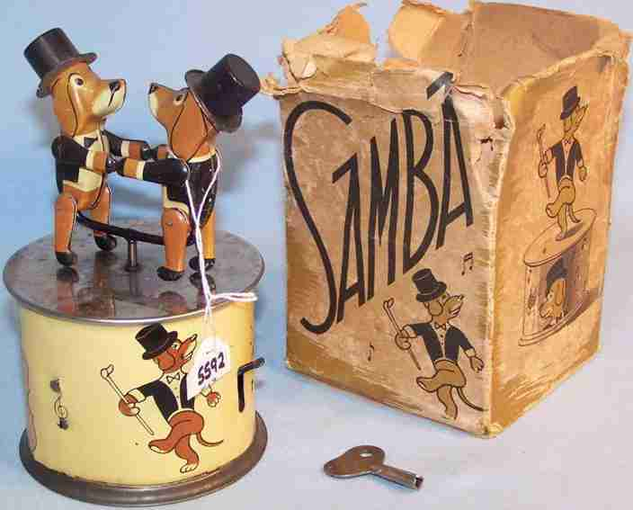 karl bub tin toy samba dog with clockwork