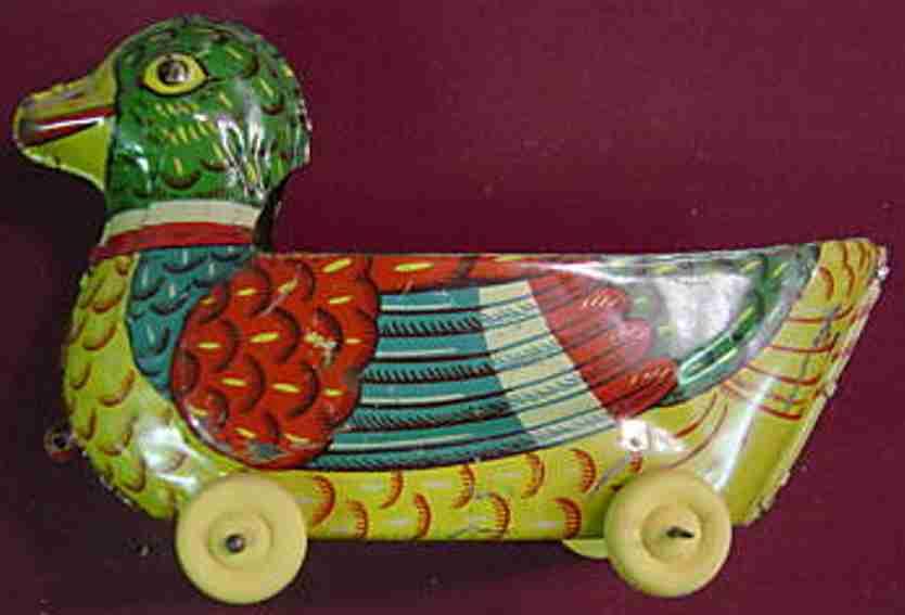 Chein Co. 101 Ente auf Holzrädern
