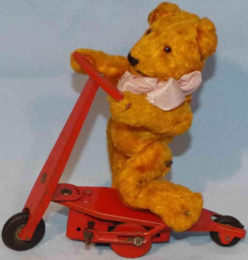 fewo fehn wolf & co blech pluesch stoff spielzeug teddybaer auf roller