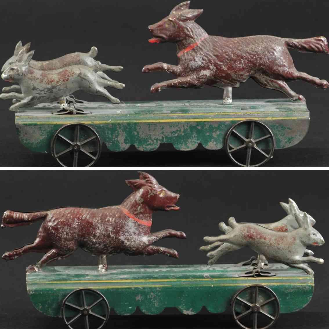 fallows blech spielzeug hund jagt kaninchen