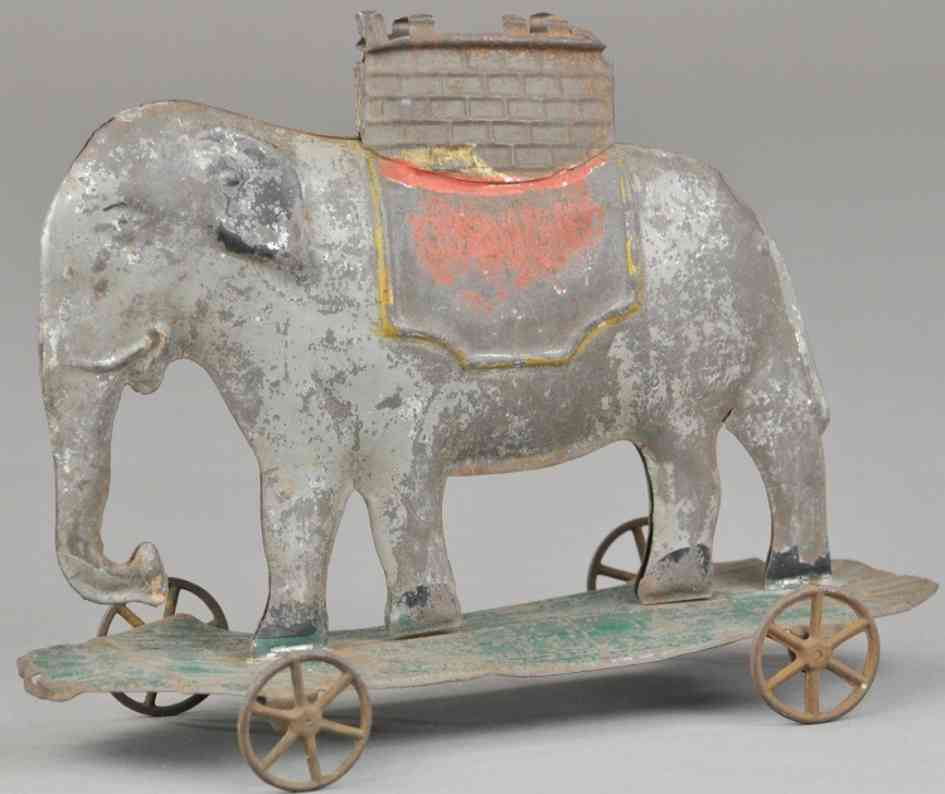 fallows tin toy elephant pull toy howdah