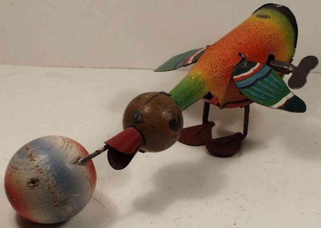 gama 35 blech spielzeug vogel holz ball im schnabel und uhrwerk