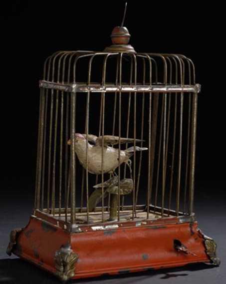 guenthermann blech spielzeug vogel in kaefig mit uhrwerk