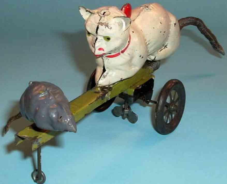 guenthermann blech spielzeug katze mit maus auf stange uhrwerk