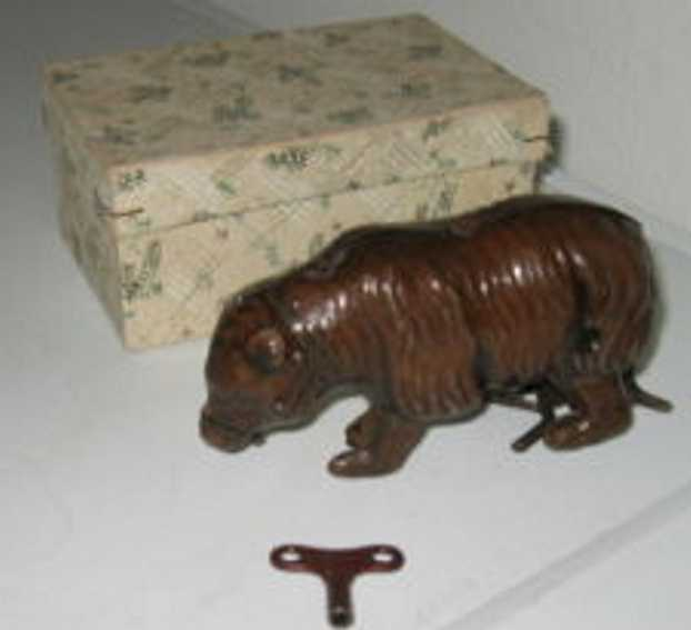 hammerer & kuhlwein Braunbär tin toy brown bear fine shaped with clockwork, wound he marches off