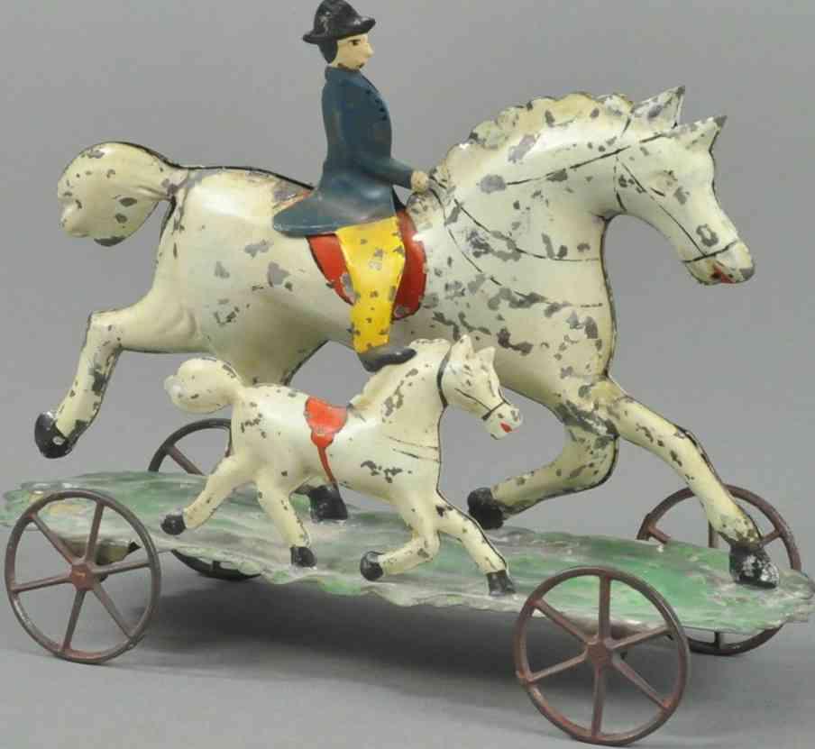 hull & stafford blech spielzeug reiter pferd fohlen plattform