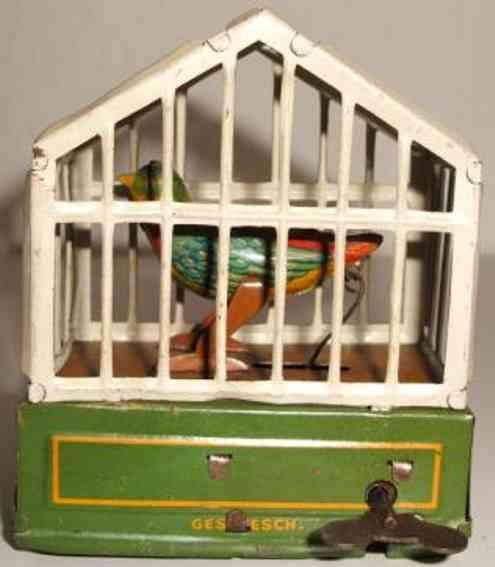 issmayer blech spielzeug vogelkaefig mit singvogel und uhrwerk
