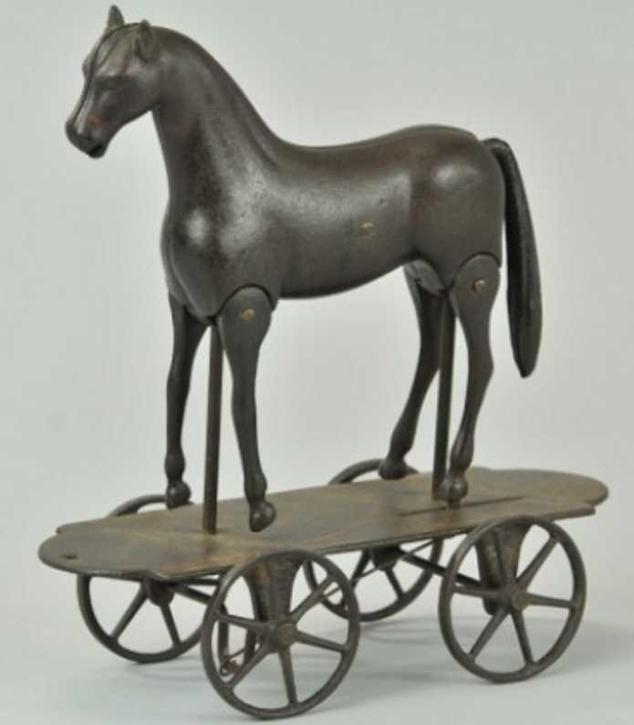 ives spielzeug gusseisen laufendes pferd auf plattform