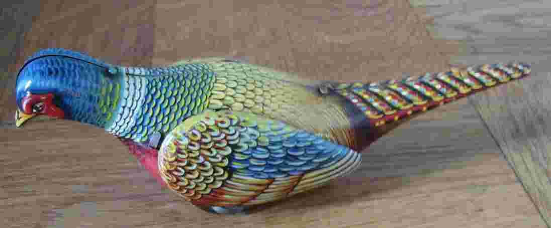 koehler blech spielzeug fasan vogel mit uhrwerk