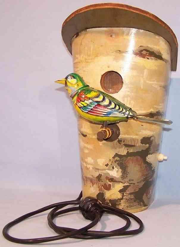 koehler blech spielzeug vogel mit baumstamm werbemodell meseaussteller