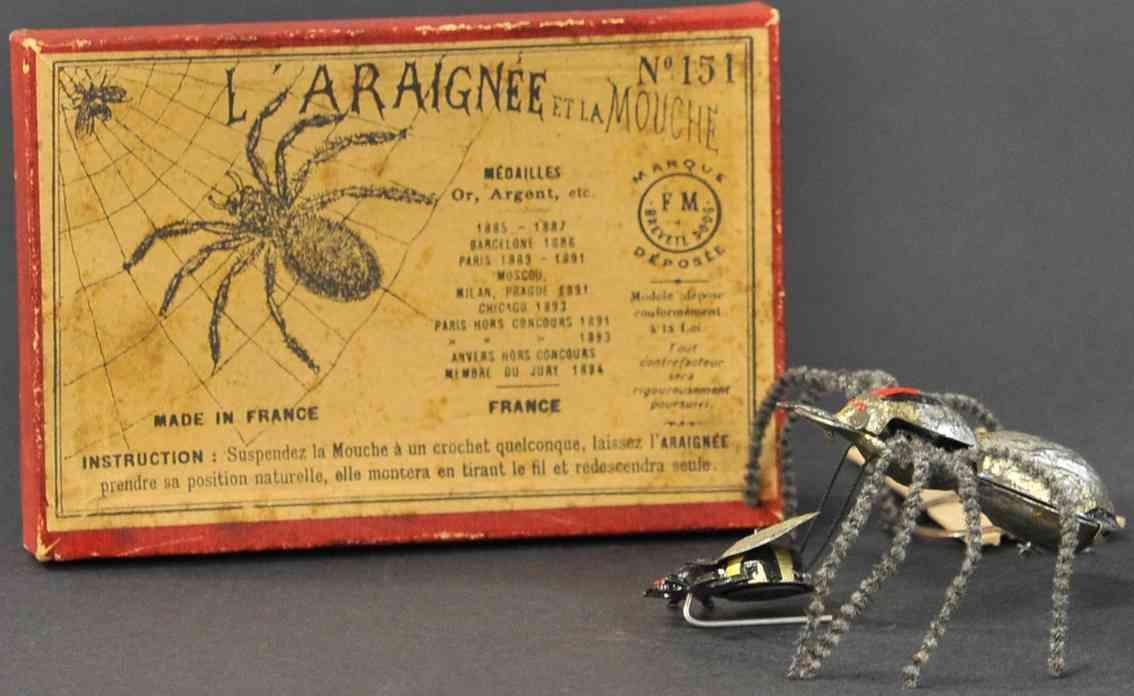 martin fernand 151 blech spielzeug l'araignse et la mouche  spinne und fliege