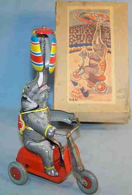 nbn nuernberger blechspielwaren blech spielzeug zirkuselefant auf dreirad mit uhrwerk, aus blech lithografie