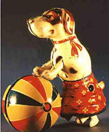 NBN Nürnberger Blechspielwaren Hund mit rollendem Ball