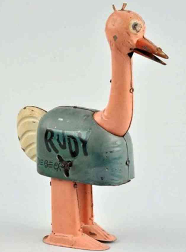 nifty manufacturing company tin ostrich wind-up toy rudy debeck