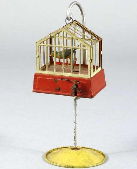 niedermeier philipp blech spielzeug vogelbauer mit uhrwerkantrieb, lithografiert, aufgezogen bew