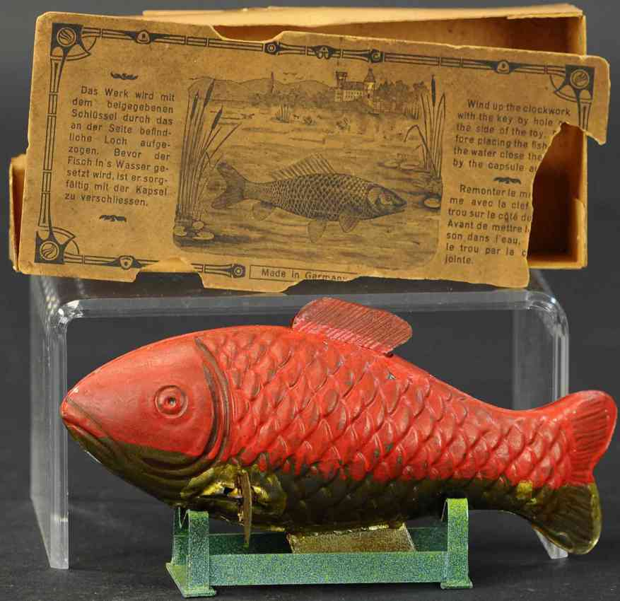 plank ernst Fisch tin toy swimming fisch with box and wind-up, has creative mechanism
