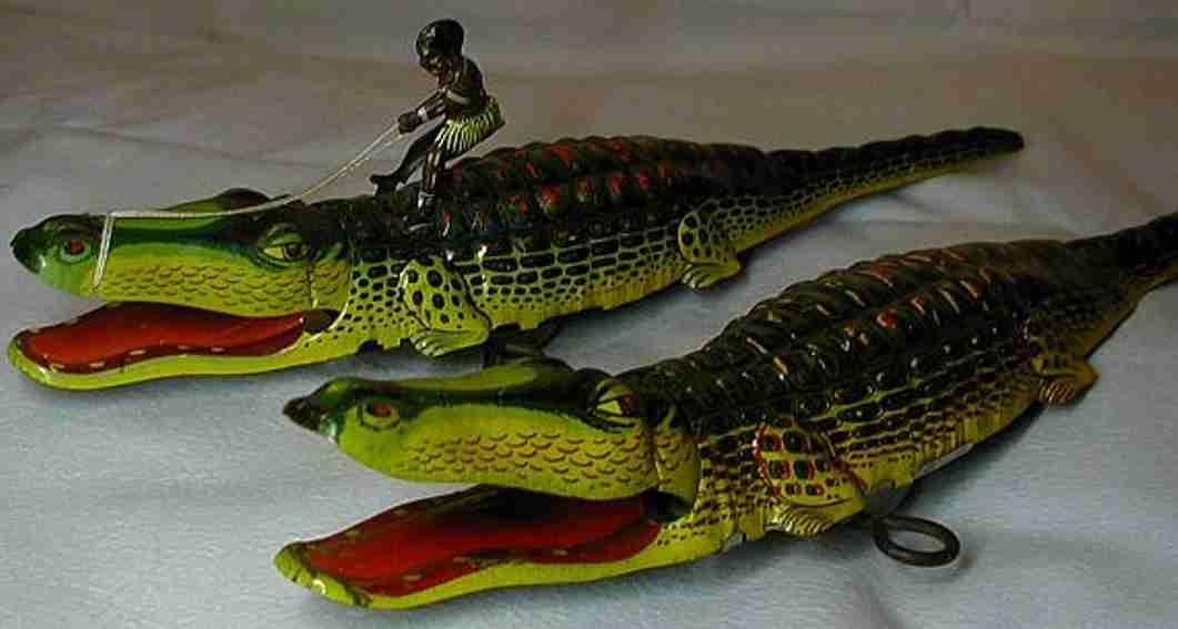 technofix 208m blech tier krokodil mit negerjunge und uhrwerk