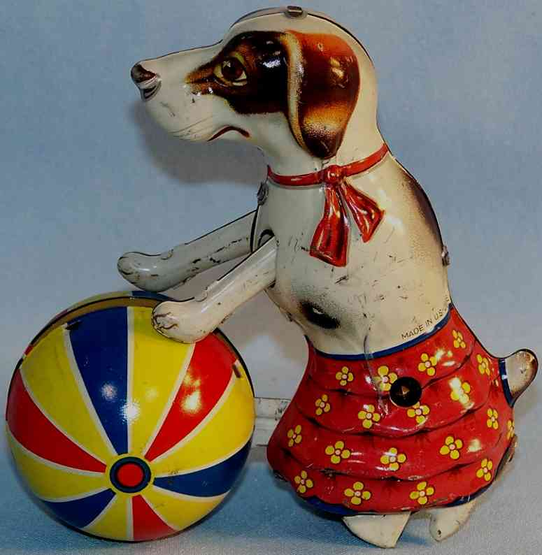 Voigt Fritz dog with ball and clockwork of tin